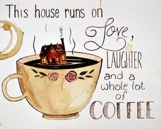 Coffee House Painting Print, Coffee Quote, Coffee Addict An original coffee/water color painting by your's truly. Coffee Talk, Coffee Is Life, Coffee Lovers, Good Morning Coffee, I Love Coffee, Sunday Coffee, Morning Coffee Quotes, Coffee Drinks, Coffee Cups
