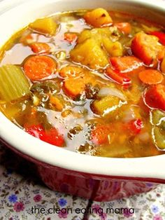 Clean Eating Mama calls this Magical Healing Soup -- it's a simple veggie soup that you can enjoy anytime on Phase 1 (without oil) or Phase 3.