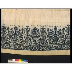 Linen skirt dress embroidered in silk, made by Maria Papadopoula, Crete, Greece, 1757 Wedding Embroidery, Vintage Embroidery, Embroidery Dress, Hand Embroidery, Blackwork Embroidery, Cross Stitch Embroidery, 17th Century Fashion, Palestinian Embroidery, Wedding Dress Patterns