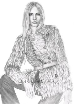 Fashion Illustration of Cara Delevingne by Annabelle King. Completed using pencil. x