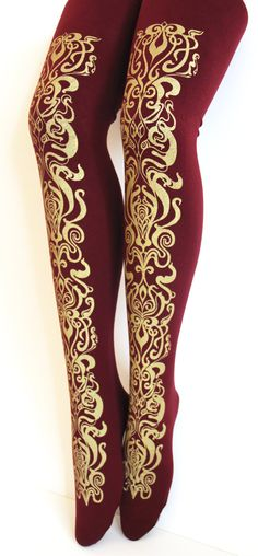 5b8dbb89424d9 Art Nouveau Print Tights Gold on Bordeaux Oxblood by TejaJamilla, $27.00  Hip Ups, Vintage