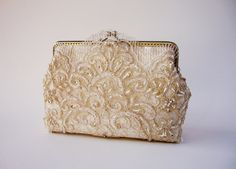 Alencon Lace Silk Gold Purse / wedding bag / by LeelaPurse on Etsy, $60.00