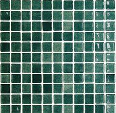 Donkergroen glanzend mozaïek 2,5 x 2,5 cm per m2