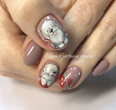 winter new year Christmas dog manicure nail art design