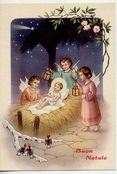 Angeli in Adorazione del Bambin Divino Xmas Cute Angels Vintage PC Circa 1950 3