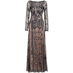 Temperley London Long Carly Dress (€2.080) ❤ liked on Polyvore featuring dresses, gowns, black, long sequin gown, sheer sleeve dress, sheer long sleeve dress, sequin evening gowns and sequin evening dresses