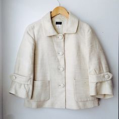J. Crew jacket Linen & cotton cropped jacket in ivory. In perfect condition. Size 6. J. Crew Jackets & Coats