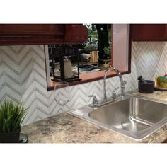 Splashback Tile Royal Herringbone White Thassos and White Carrera Strips 10-1/2 in. x 12 in. x 10 mm Polished Marble Mosaic Tile-HDRYLWHTASCRA - The Home Depot