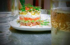 salmon and halibut with horseradish cream, delicious entree