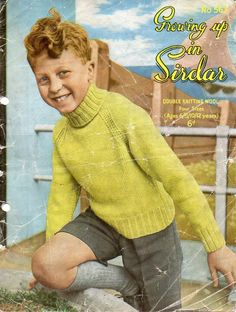 Childrens Knitting Pattern 1950s Childrens Sweater Childrens Polo Neck Sweater Childrens jumper DK Sweater 26-34Inch DK PDF Instant Download by Minihobo on Etsy