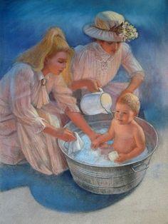 victorian ladies baby art sue halstenberg painting for sale pastel