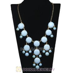 Each New Fashion Morning Sky Blue Bubble Bib statement Necklace are made by high skilled worker, Perfect processing, 100% physical picture, it can be perfect on you at  party and every occasion and must be the trendy  necklace jewelry collection 2013. You will find more better necklace on Dooda Jewelry online store.