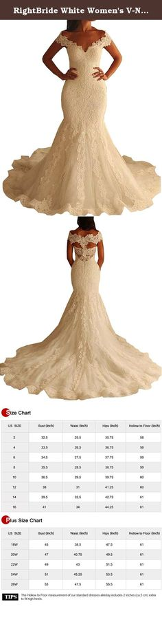 RightBride White Women's V-Neck Wedding Dresses 2017 for Bride Capped Lace Sheath Ruched Trumpet Court (22W). RightBride White Women's V-Neck Wedding Dresses 2017 for Bride Capped Lace Sheath Ruched Trumpet Court (22W) RightBride, Just as the store name indicates, is always dedicated to be the Right online shop on Amazon for wedding dresses for bride, So quality is our first priority. 1.With high quality fabrics, beads, pearls, crystals and threads, RightBride are always producing wedding...