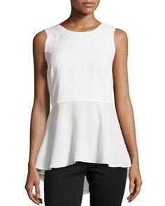 Sleeveless High-Low Peplum Top, Ivory by Marled by Reunited Clothing at Neiman Marcus Last Call.
