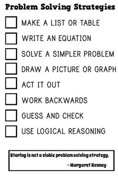 Math = Love: Free Problem Solving Strategies Notebook Insert (Love that staring at it is NOT a strategy!)