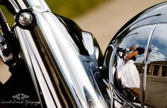 motorcycle wedding reflection picture  for more images check out   www.littledetailsphotography.net