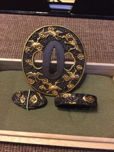 SOLD...Matching tsuba fuchi and kashira from the collection of David W. Easley.