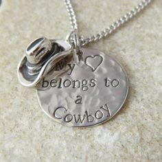 My Heart belongs to a Cowboy Necklace by WireNWhimsy on Etsy