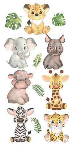 Jungle Animals, Baby Animals, Cute Animals, Baby Animal Drawings, Cute Drawings, Tropical Animals, Safari Theme, Jungle Theme Cakes, Animal Nursery