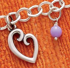 Summer Collection - Mother's Love Charm (small), Lavender Glass Enhancer Bead shown on Forged Link Charm Necklace #JamesAvery