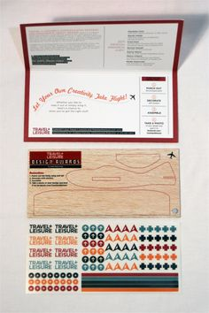 Travel+Leisure design awards mailer with a DIY balsa wood airplane cutout. Simply brilliant.