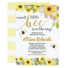 """Bee baby shower invitation girl yellow bumblebee For more advanced customization of this design, simply select the """"Customize It"""" button above! Fun baby shower invites - customize your invitations. Baby Shower Yellow, Baby Yellow, Gender Neutral Baby Shower, Baby Gender, Gender Party, Pink Blue, Gender Reveal Invitations, Baby Shower Invitations For Boys, Birthday Invitations"""