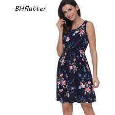 8329a9764d5f2e2 BHflutter 2018 женское летнее платье с цветочным принтом, Повседневное  платье без рукавов, хлопковое короткое