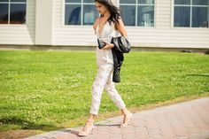50 Lawn-Ready Looks From The Polo Classic #refinery29  http://www.refinery29.com/veuve-clicquot-polo-classic#slide47  White lace and black leather.  Those pants! <3