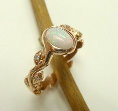 Engagement ring. Opal engagement ring. Leaf by ValerieKStudio with white gold omg