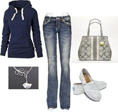 Navy blue hoodie; light blue/grey boot cut jeans white lace toms; light&dark grey printed purse; silver bird/leaf necklace-fall outfit/cute