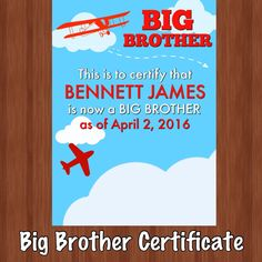 Just added! Big sibling certificates now available in my shop. Perfect gift for big brothers!                                                                                                                                                      More
