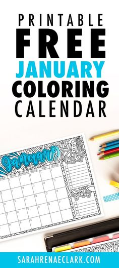 This free printable January calendar is perfect for the coloring book addict! Get organized and enjoy coloring each month. Free Printable Calendar, Printable Planner, Printable Art, Free Printables, Schedule Printable, Calendar Templates, Easter Coloring Pages, Free Coloring Pages, Printable Coloring Pages