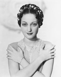 Dorothy Lamour's 1930s updo features opulent decorations