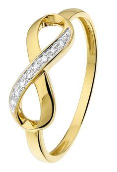 Geelgouden ring Infinity met diamant - Lucardi.nl