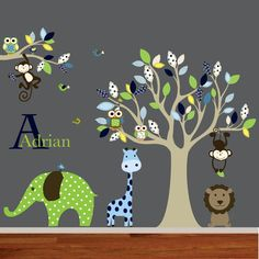 Vinyl Wall Decal Mural Giraffe,elephant,monkey nursery wall decal sticker vinyl tree and branch jungle decals. $165.00, via Etsy.