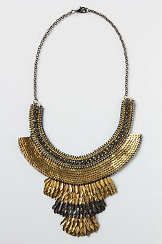 "serpentine sequins bib necklace by anthropologie $128 (brass, glass, metallic thread, leather, 17""L, 4"" bib)"