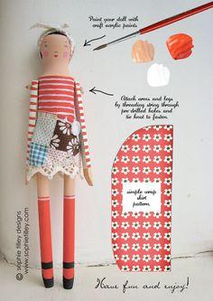 Vintage Czech Doll Set - FLER (how I& love to play with this!) Modular Doll& House - Manzanita Kids , via Doll Kits by So. Peg Doll, Doll Toys, Doll Set, Softies, Fabric Dolls, Paper Dolls, Muñeca Diy, Clothespin Dolls, Paperclay