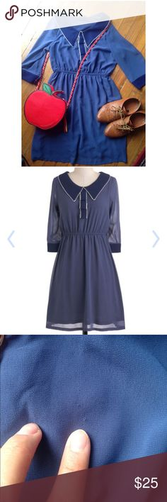 Blueberry Ribbon, Modcloth dress Beautiful long sleeve dress perfect for winter! There's a small snag pictures and a small stain also pictures. But still in good condition! It's a size small and runs TTS. ModCloth Dresses Long Sleeve
