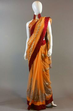 Orange Maroon Border Net Saree
