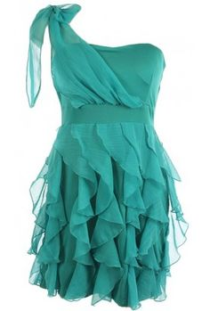 cascade ruffle chiffon overlay bow tie shoulder one shoulder woven dress. 95% rayon 5% lycra.Measures 33