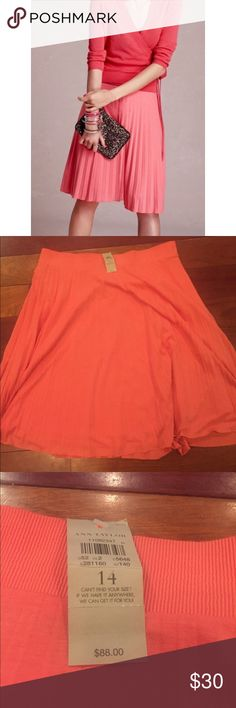 NWT Ann Taylor Salmon and coral pleated skirt Size 14 NWT Super cute Soft, pleated skirt Ann Taylor Skirts