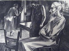 Dinner hour, Dorothy Rutka lithograph