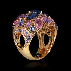 Mousson atelier, collection Splash, ring, Yellow gold 750, Multicolored sapphires