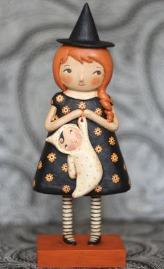 Melinda Witch and baby ghost doll EHAG Spooky Halloween Primitive Folk Art Original
