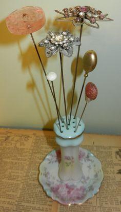 RS Prussia Floral Hat Pin Holder w 7 Vtg Hatpins Excellent Cond | eBay