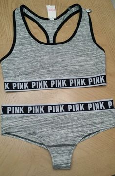 de9916415f1 Victorias Secret Fashion Show PINK Logo Sports Bra   Panty Set Size L Gray  Marl