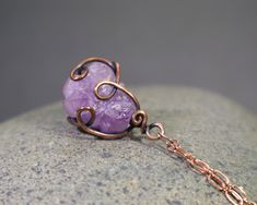 Raw Amethyst Crystal Pendant: Natural Rough Purple Quartz Gemstone Wire Wrapped Necklace, Rustic Copper, OOAK, Gift for Her, Wire Art Raw Gemstone Jewelry, Raw Crystal Jewelry, Amethyst Jewelry, Amethyst Pendant, Crystal Pendant, Wire Wrapped Necklace, Wire Wrapped Pendant, Etsy Jewelry, Boho Jewelry