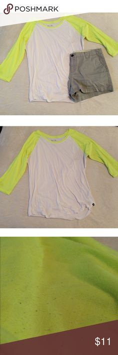 Hurley sz XL neon yellow/green baseball tee Hurley size XLarge neon green/yellow baseball tee with 3/4 sleeves. Very cute shirt. Fits tight. Normal wear, slight piling as pictured. Smoke free dog friendly home. Will gladly answer any questions! Feel free to make an offer or bundle for a private offer! ✌🏼💁🏼 Hurley Tops Tees - Long Sleeve