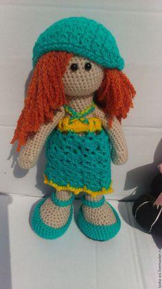 Купить Рыжая Соня вязаная кукла - рыжий, зеленый, бирюза, кукла ручной работы