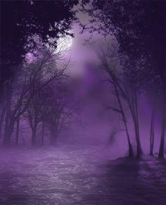 Spooky Swamp: #purple moonlit night, invites even as it warns; #DigitalArt by Jessica Dueck